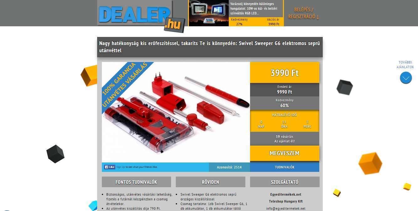 Dealer.hu eredeti kupon megtekintő nézet