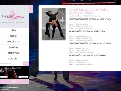 Dancing Queen Tánciskola bemutatkozóoldala